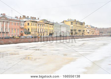 Fontanka River - watercourse in St. Petersburg at winter Russia.