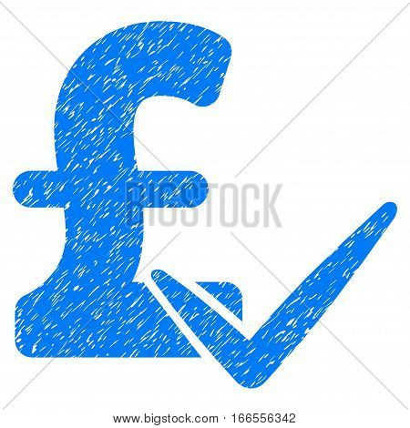 Accept Pound grainy textured icon for overlay watermark stamps. Flat symbol with dust texture. Dotted vector blue ink rubber seal stamp with grunge design on a white background.