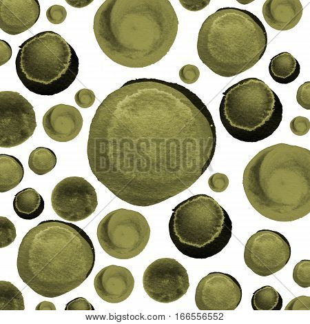 Modern background of olive green and army sepia bubbles painted in watercolor. Abstract monochrome pattern with ink circles and dots. Template for design