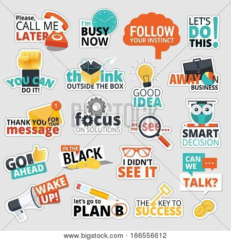 Set of flat design business stickers. Isolated vector illustrations for business communication, social network, social media, web design, business presentation, marketing material.