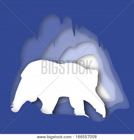 Vector banner to the polar bear day, silhouette with imitation depth. Adult Polar Bear in his house, snow cave, vector illustration