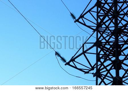 power line tower on the background of blue sky electricity energy concept