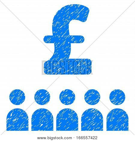 British Business Education grainy textured icon for overlay watermark stamps. Flat symbol with scratched texture. Dotted vector blue ink rubber seal stamp with grunge design on a white background.