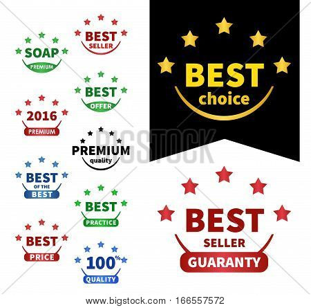 collection vector badges. Premium 2016, Best of the best, Best choice, Best price, Premium quality, Bestseller, Best seller, Best offer
