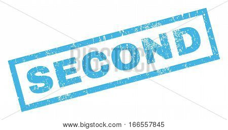 Second text rubber seal stamp watermark. Caption inside rectangular shape with grunge design and dirty texture. Inclined vector blue ink sticker on a white background.
