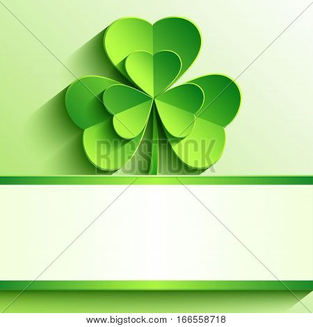 Stylish modern St. Patrick's day card with green 3d leaf clover cutting paper. Trendy spring background with place for text. Beautiful bright wallpaper. Vector illustration