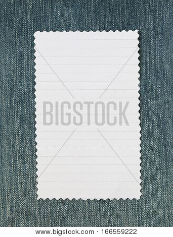 Note paper of empty and copy space on Denim background You can input the message text in picture.