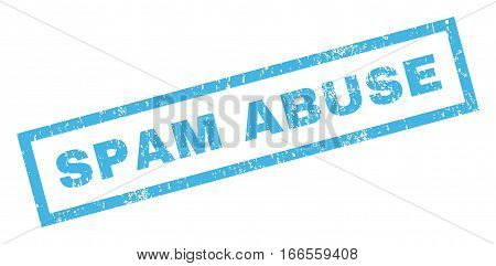 Spam Abuse text rubber seal stamp watermark. Caption inside rectangular banner with grunge design and dirty texture. Inclined vector blue ink sticker on a white background.