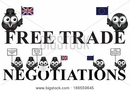 United Kingdom government free trade negotiations after exiting the European Union following the June 2016 referendum isolated on white background