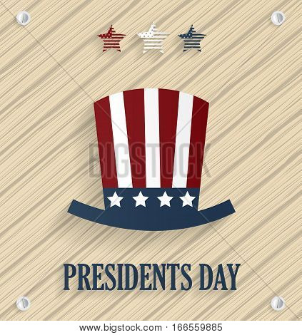 Presidents day poster with hat on wooden background. Vector illustration.