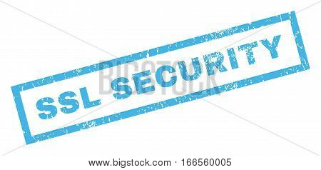 SSL Security text rubber seal stamp watermark. Caption inside rectangular shape with grunge design and unclean texture. Inclined vector blue ink emblem on a white background.