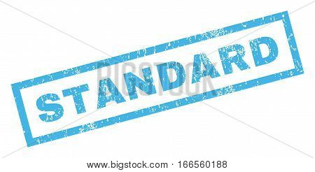 Standard text rubber seal stamp watermark. Caption inside rectangular shape with grunge design and dust texture. Inclined vector blue ink emblem on a white background.
