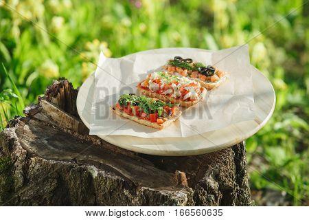 Italian Bruschetta On A Background Of Nature