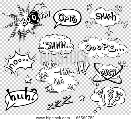 Comic speech bubbles set, wording sound effect set design for comic background, strip. Comic Book Bang cloud, pow sound and cool exclamation, bomb pow sound