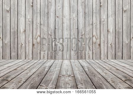 Wood scene background and floor. Box wooden gray boards. Set design composed entirely of wooden planks gray. Floor with perspective and background in vertical stripes.