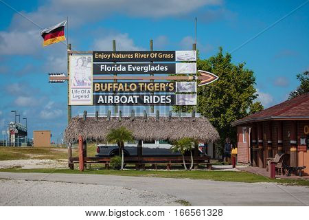 Everglades FL USA - October 5 2016: Buffalo Tiger's Airboat Rides organising tours to wtch alligators in Florida Everglades