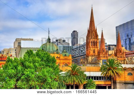 Flinders Street Station and St Paul's Cathedral in Melbourne, Australia