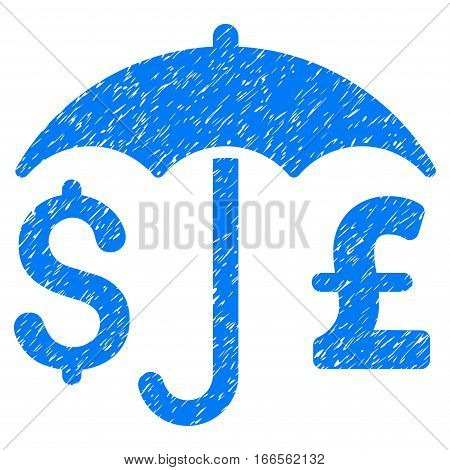 Pound And Dollar Financial Umbrella grainy textured icon for overlay watermark stamps. Flat symbol with dirty texture.