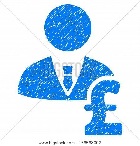Pound Banker grainy textured icon for overlay watermark stamps. Flat symbol with dirty texture. Dotted vector blue ink rubber seal stamp with grunge design on a white background.
