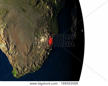 Swaziland From Space During Dusk