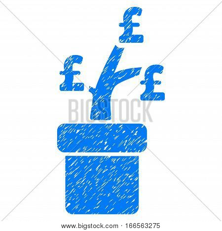 Pound Business Project Plant grainy textured icon for overlay watermark stamps. Flat symbol with dirty texture. Dotted vector blue ink rubber seal stamp with grunge design on a white background.