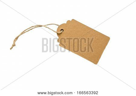 Blank decorative cardboard paper gift tag with twine tie isolated on white