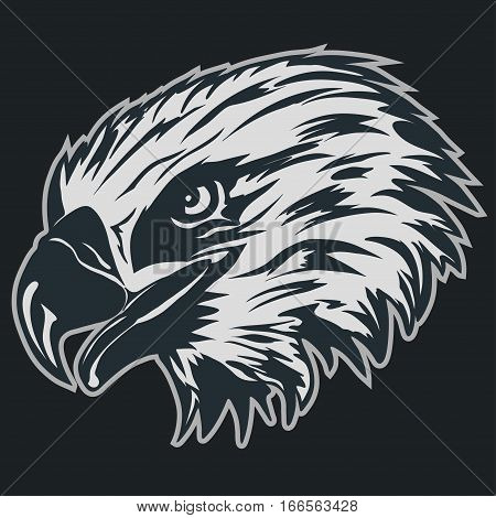 Eagle head logo Template, Hawk mascot sticker graphic, Portrait of a bald eagle. Vector