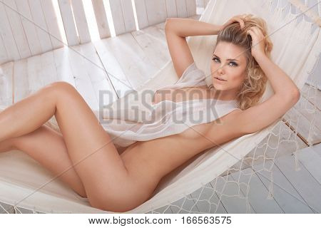 Natural Blonde Woman Relaxing.