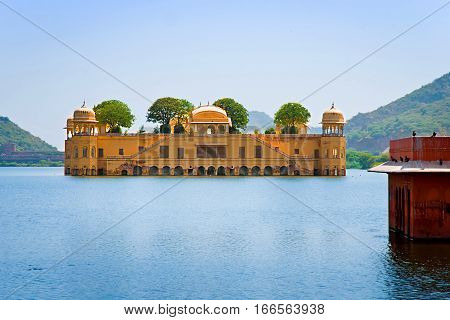 JAIPUR INDIA - September 27: Jal Mahal (Water Palace) was built during the 18th century in the middle of Man Sager Lake. September 27 2013 in Jaipur Rajasthan India.