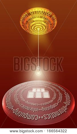 Futuristic abstract background with binary code and the words computing informatics