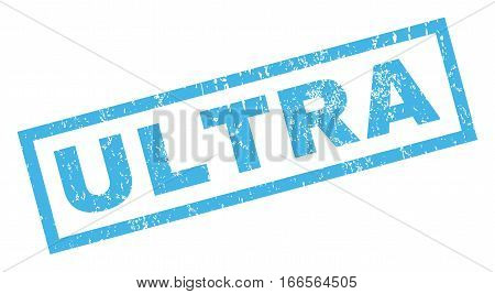 Ultra text rubber seal stamp watermark. Caption inside rectangular banner with grunge design and unclean texture. Inclined vector blue ink sign on a white background.