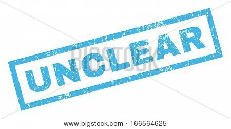 Unclear text rubber seal stamp watermark. Caption inside rectangular banner with grunge design and scratched texture. Inclined vector blue ink emblem on a white background.