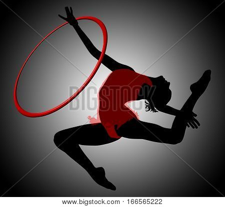 Gymnastics woman silhouette. Rhythmic gymnastics with ring. Gymnast woman flying in split. Background with gradient gray. The gymnast has a transparent red dress.