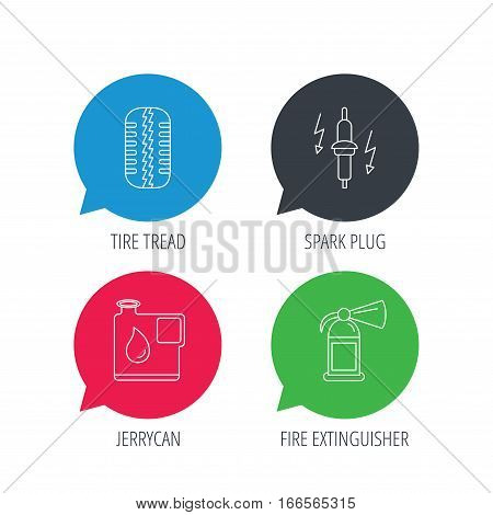 Colored speech bubbles. Wheel, fire extinguisher and spark plug icons. Fuel jerrycan, tire tread linear signs. Flat web buttons with linear icons. Vector