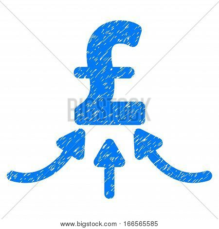 Pound Financial Accumulator grainy textured icon for overlay watermark stamps. Flat symbol with dirty texture. Dotted vector blue ink rubber seal stamp with grunge design on a white background.