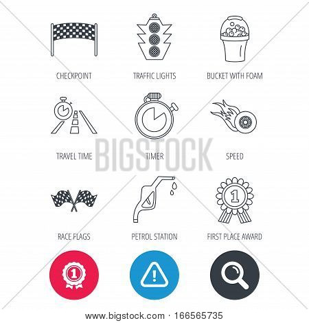 Achievement and search magnifier signs. Race flags and speed icons. Winner medal, checkpoint and traffic lights linear signs. Timer and petrol station flat line icons. Hazard attention icon. Vector