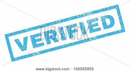 Verified text rubber seal stamp watermark. Tag inside rectangular banner with grunge design and dust texture. Inclined vector blue ink sticker on a white background.