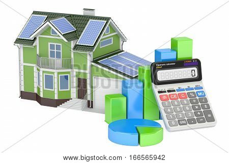saving energy consumption efficiency from solar energy concept. 3D rendering isolated on white background
