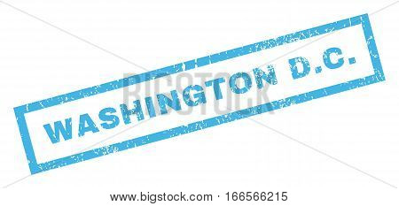 Washington D.C. text rubber seal stamp watermark. Tag inside rectangular shape with grunge design and dust texture. Inclined vector blue ink sign on a white background.