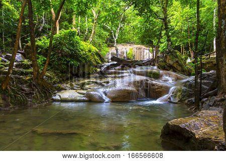 Erawan Waterfall and green forest in Kanchanaburi Thailand
