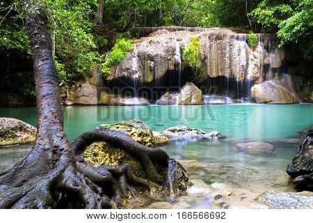 Erawan Waterfall and tree freshness after the rain in Kanchanaburi Thailand