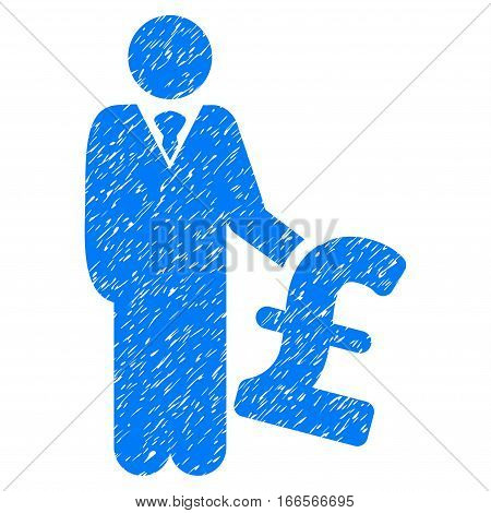 Pound Investor grainy textured icon for overlay watermark stamps. Flat symbol with unclean texture. Dotted vector blue ink rubber seal stamp with grunge design on a white background.