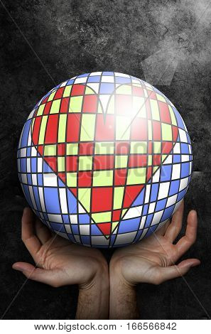 Open hands up receiving a world ball with inside an artistic heart made of colored tiles. Grunge background. Global hospitality. Solidarity.
