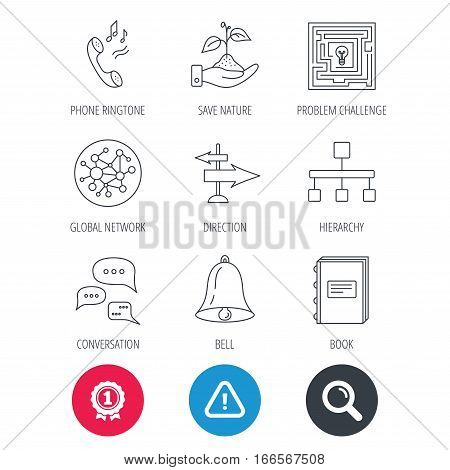 Achievement and search magnifier signs. Conversation, global network and direction icons. Save nature, maze and book linear signs. Bell and phone ringtone flat line icons. Hazard attention icon