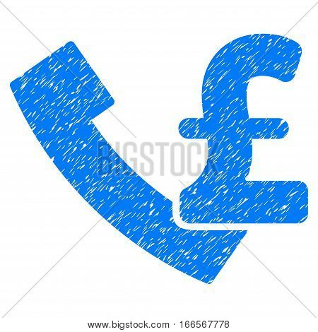 Pound Payphone grainy textured icon for overlay watermark stamps. Flat symbol with unclean texture. Dotted vector blue ink rubber seal stamp with grunge design on a white background.