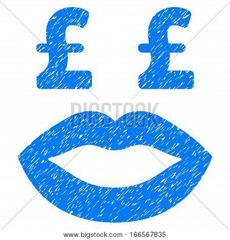 Pound Prostitution Smiley grainy textured icon for overlay watermark stamps. Flat symbol with unclean texture. Dotted vector blue ink rubber seal stamp with grunge design on a white background.