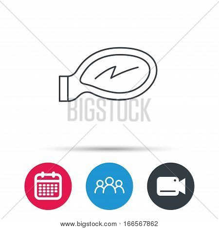 Car mirror icon. Driveway side view sign. Group of people, video cam and calendar icons. Vector