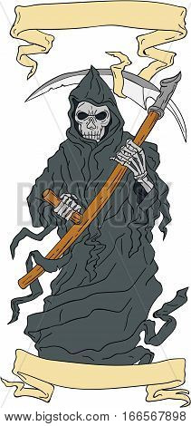 Drawing sketch style illustration of the grim reaper holding scythe viewed from front with scroll set on isolated white background.