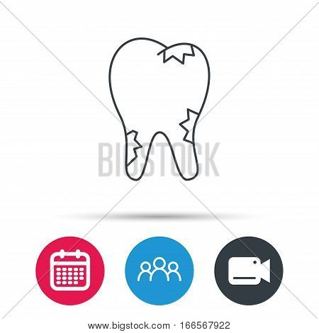 Caries icon. Tooth health sign. Group of people, video cam and calendar icons. Vector