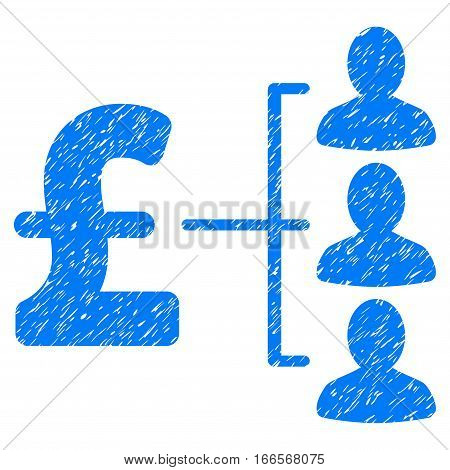 Pound Recipients grainy textured icon for overlay watermark stamps. Flat symbol with dust texture. Dotted vector blue ink rubber seal stamp with grunge design on a white background.